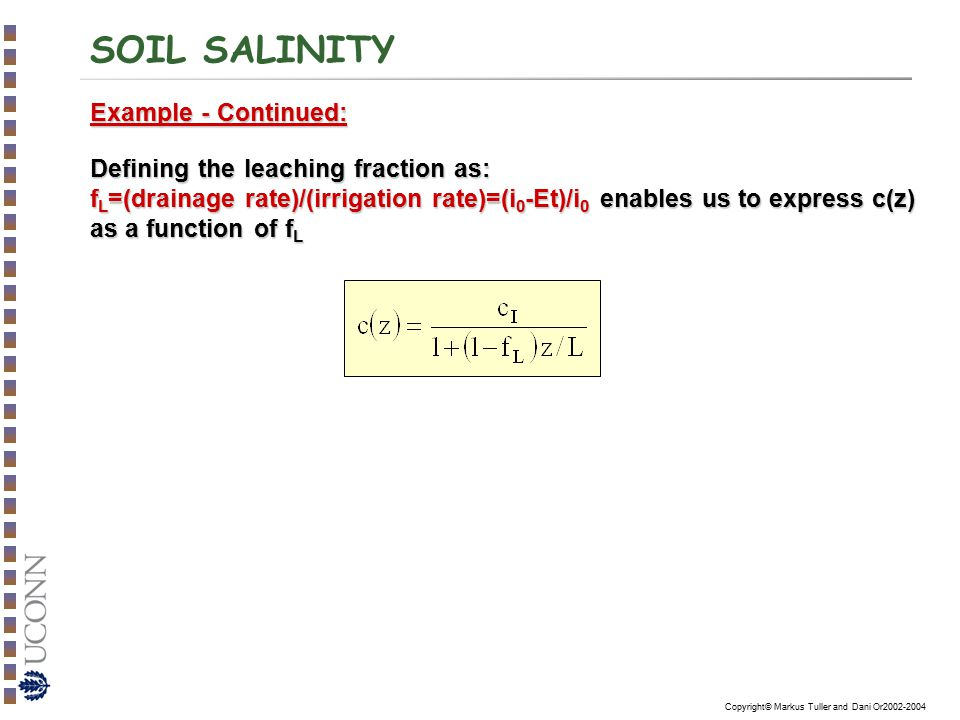 SOIL SALINITY Example - Continued: