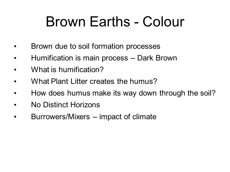Brown Earths - Colour Brown due to soil formation processes
