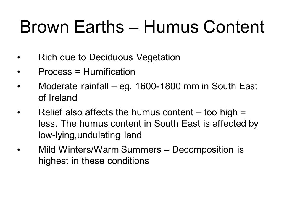 Brown Earths – Humus Content