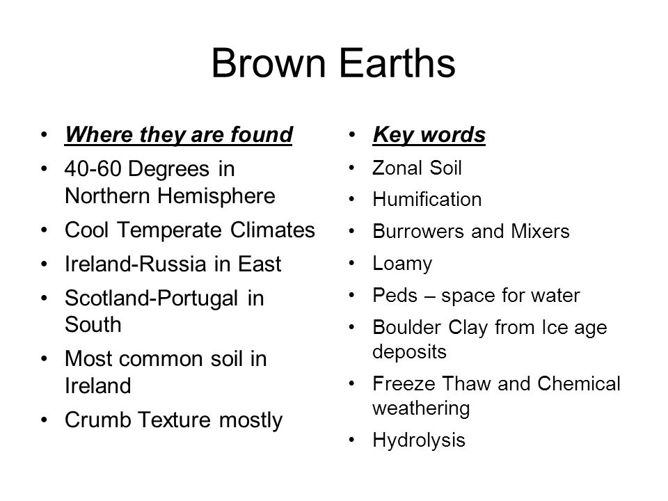 Brown Earths Where they are found 40-60 Degrees in Northern Hemisphere