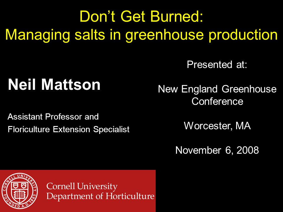 Don't Get Burned: Managing salts in greenhouse production