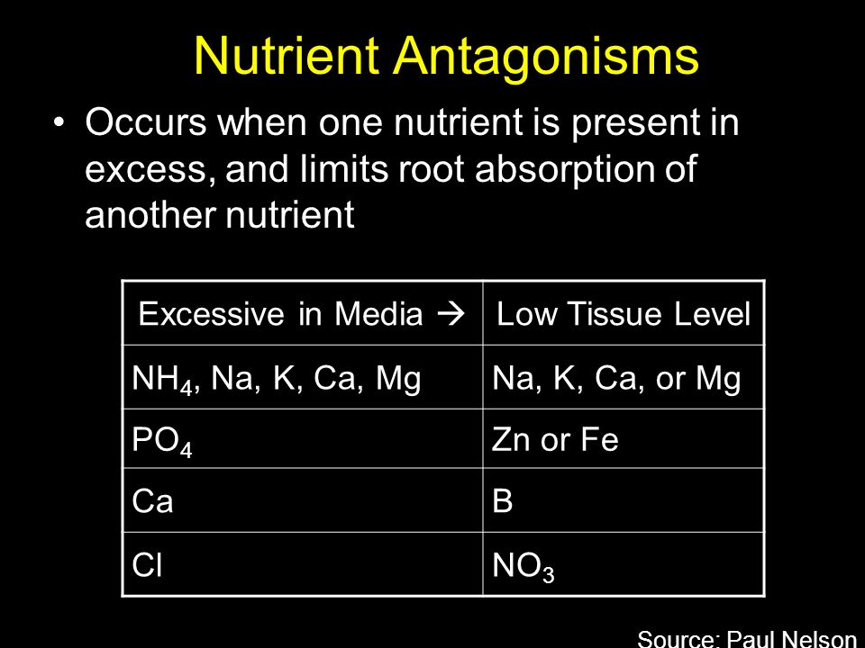 Nutrient Antagonisms Occurs when one nutrient is present in excess, and limits root absorption of another nutrient.
