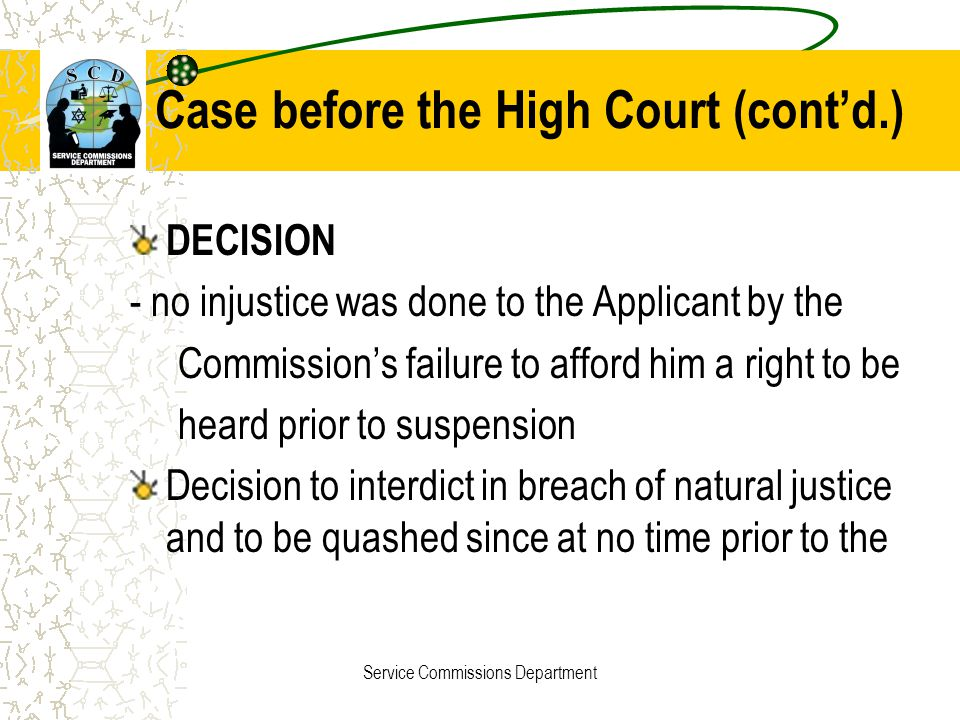 Case before the High Court (cont'd.)