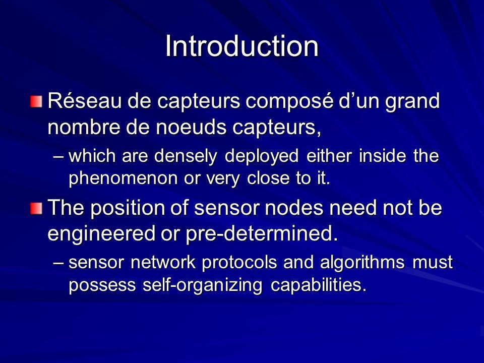 Introduction Réseau de capteurs composé d'un grand nombre de noeuds capteurs,