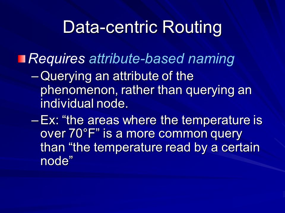 Data-centric Routing Requires attribute-based naming