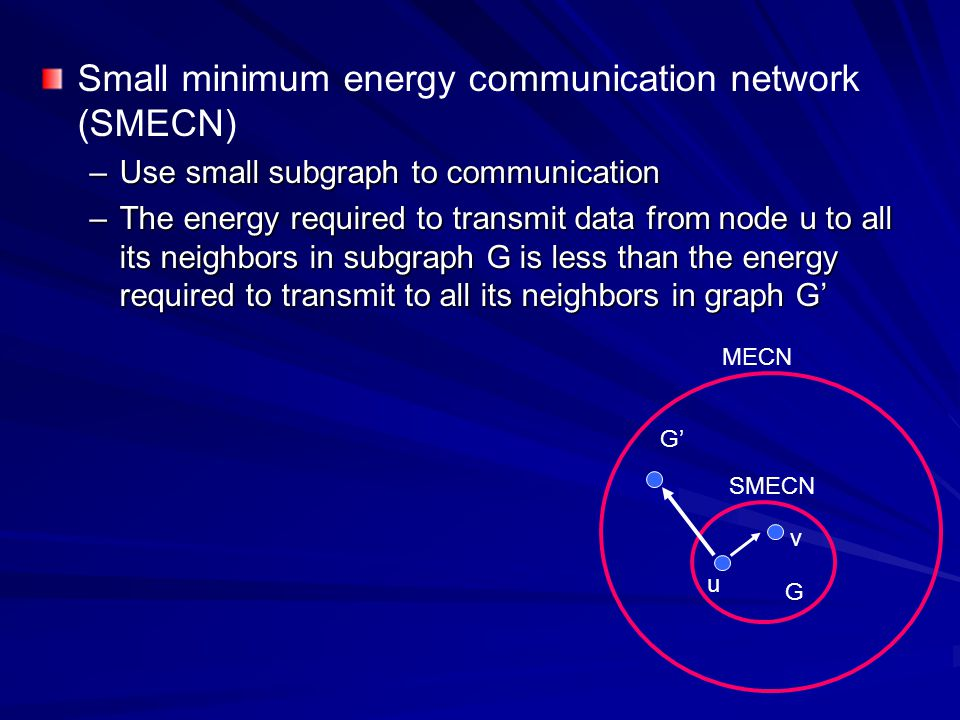 Small minimum energy communication network (SMECN)