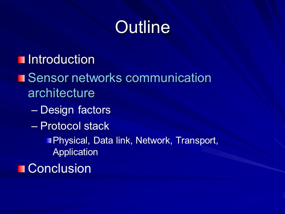 Outline Introduction Sensor networks communication architecture