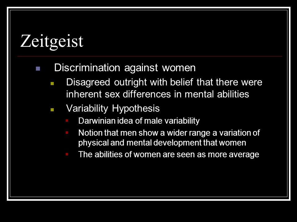 Zeitgeist Discrimination against women