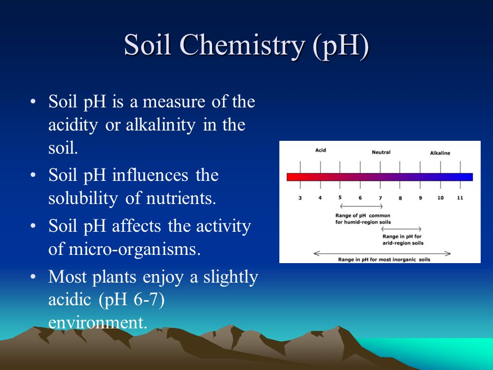 Soil Chemistry (pH) Soil pH is a measure of the acidity or alkalinity in the soil. Soil pH influences the solubility of nutrients.
