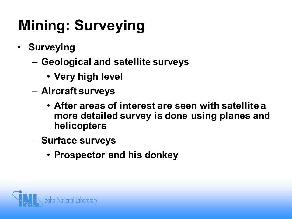 Mining: Surveying Surveying Geological and satellite surveys