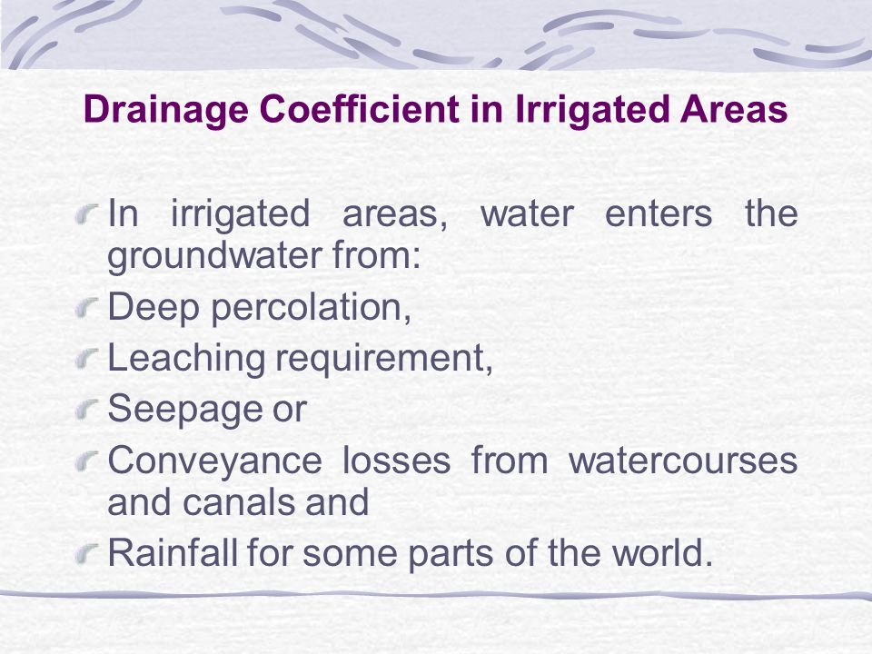 Drainage Coefficient in Irrigated Areas
