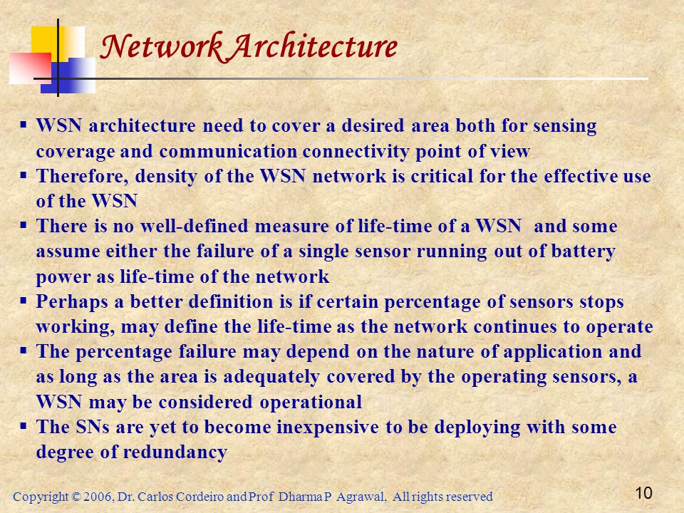 Network Architecture WSN architecture need to cover a desired area both for sensing coverage and communication connectivity point of view.
