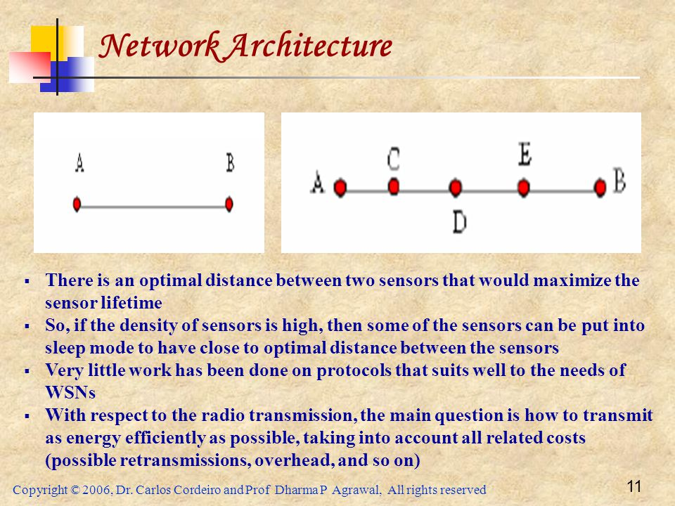 Network Architecture There is an optimal distance between two sensors that would maximize the sensor lifetime.