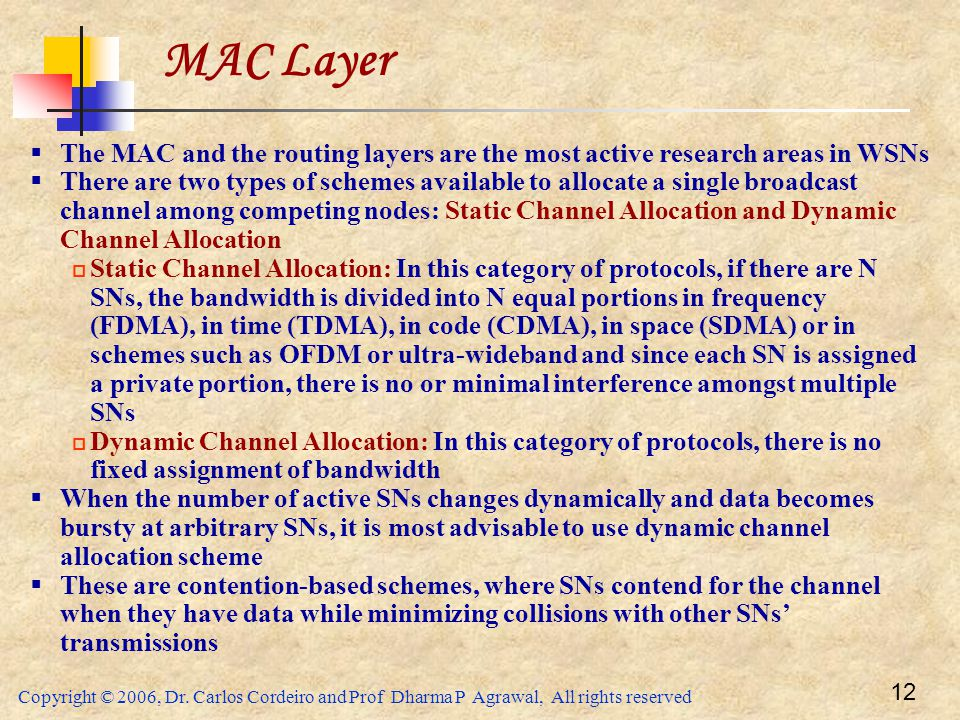 MAC Layer The MAC and the routing layers are the most active research areas in WSNs.