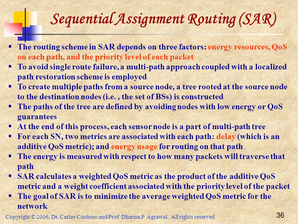 Sequential Assignment Routing (SAR)