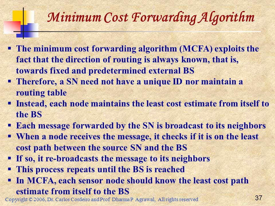 Minimum Cost Forwarding Algorithm