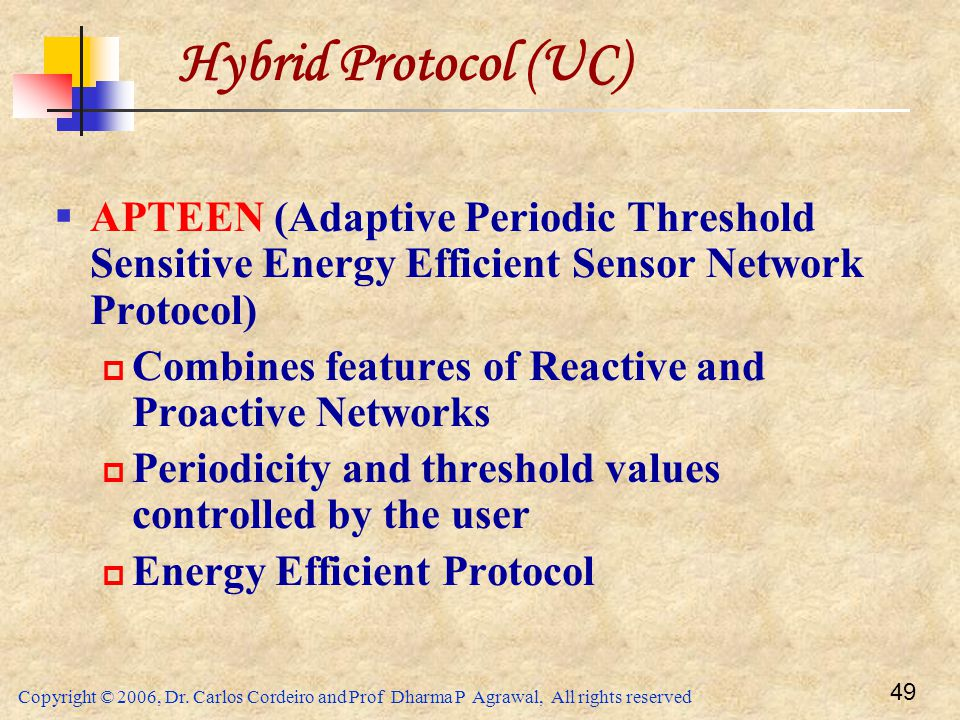 Hybrid Protocol (UC) APTEEN (Adaptive Periodic Threshold Sensitive Energy Efficient Sensor Network Protocol)