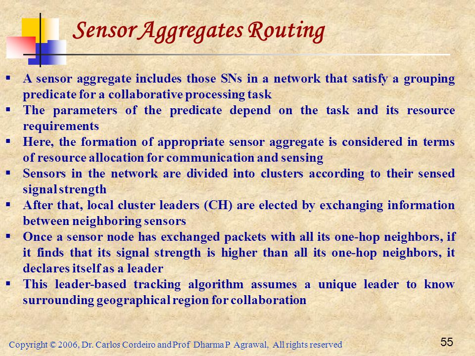 Sensor Aggregates Routing