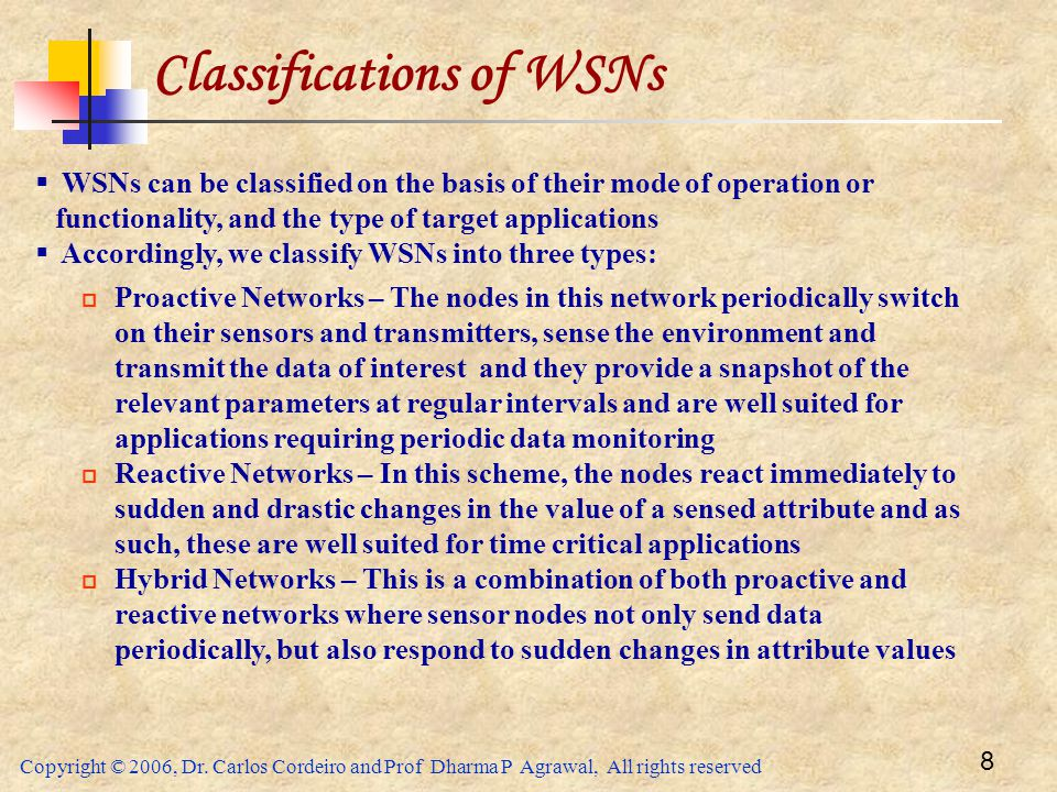 Classifications of WSNs