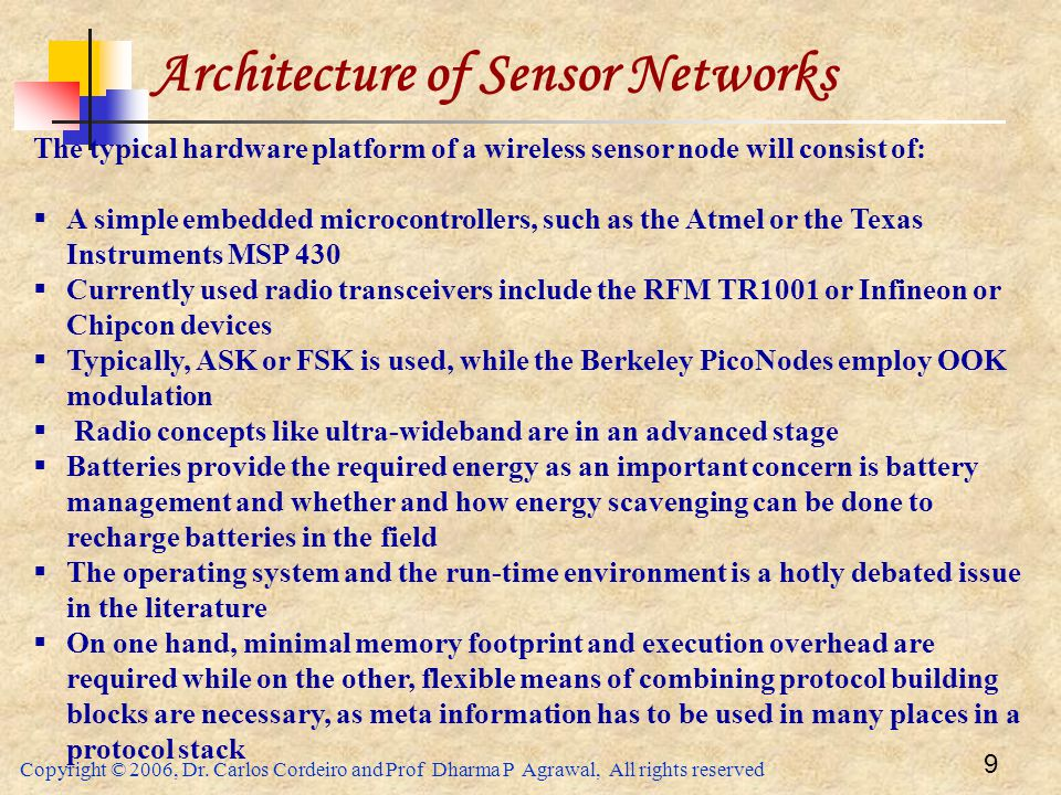 Architecture of Sensor Networks