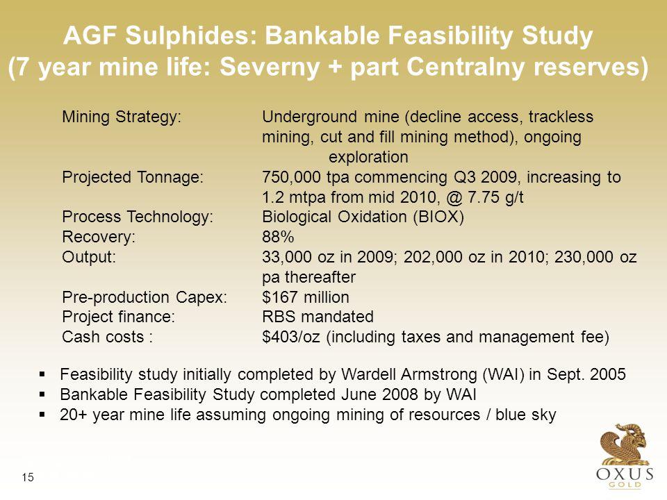 AGF Sulphides; BFS Project Economics