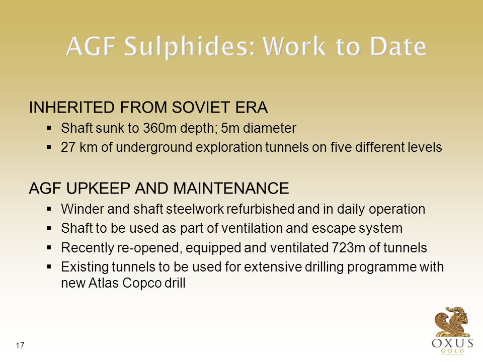 AGF - Section through ore-body Significant potential for expansion