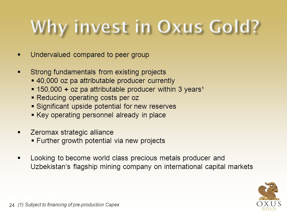 Oxus Gold plc: A significant investment opportunity