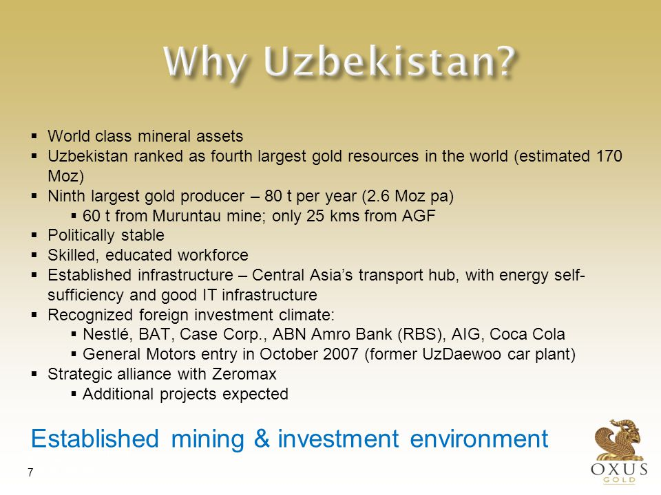 The Tien Shan Gold Belt Second largest gold province in the world after the Witwatersrand Basin. Massive potential.