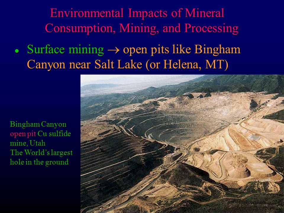the impact of mining The impact of mining is leading to the major issues, like a threat to the entire environment and also damaging the health of all life on earth mining procedures generally require a larger and vast area of land.