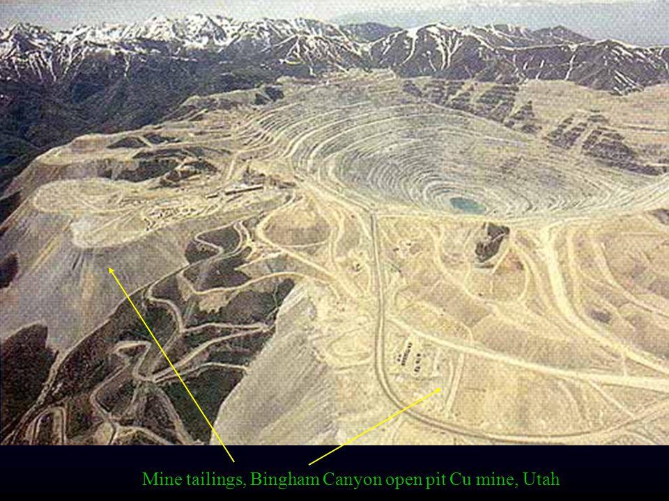 Mine tailings, Bingham Canyon open pit Cu mine, Utah