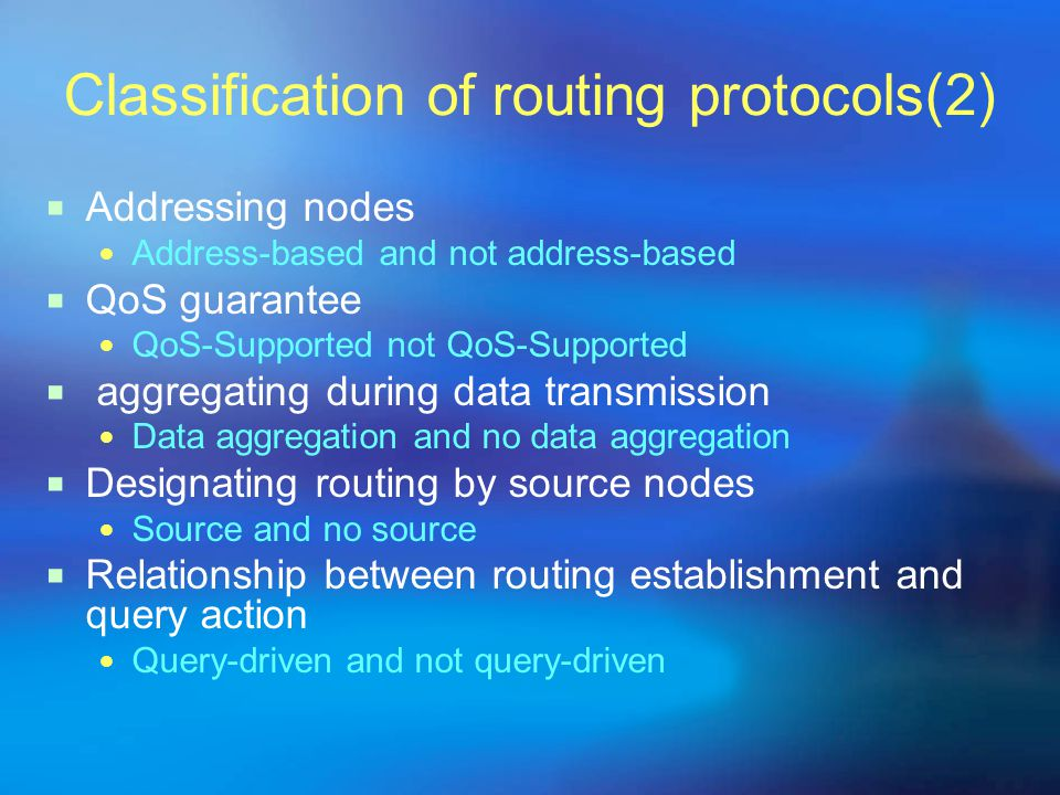 Classification of routing protocols(2)