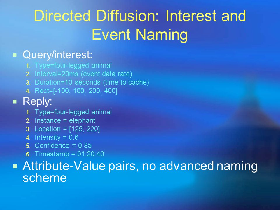 Directed Diffusion: Interest and Event Naming