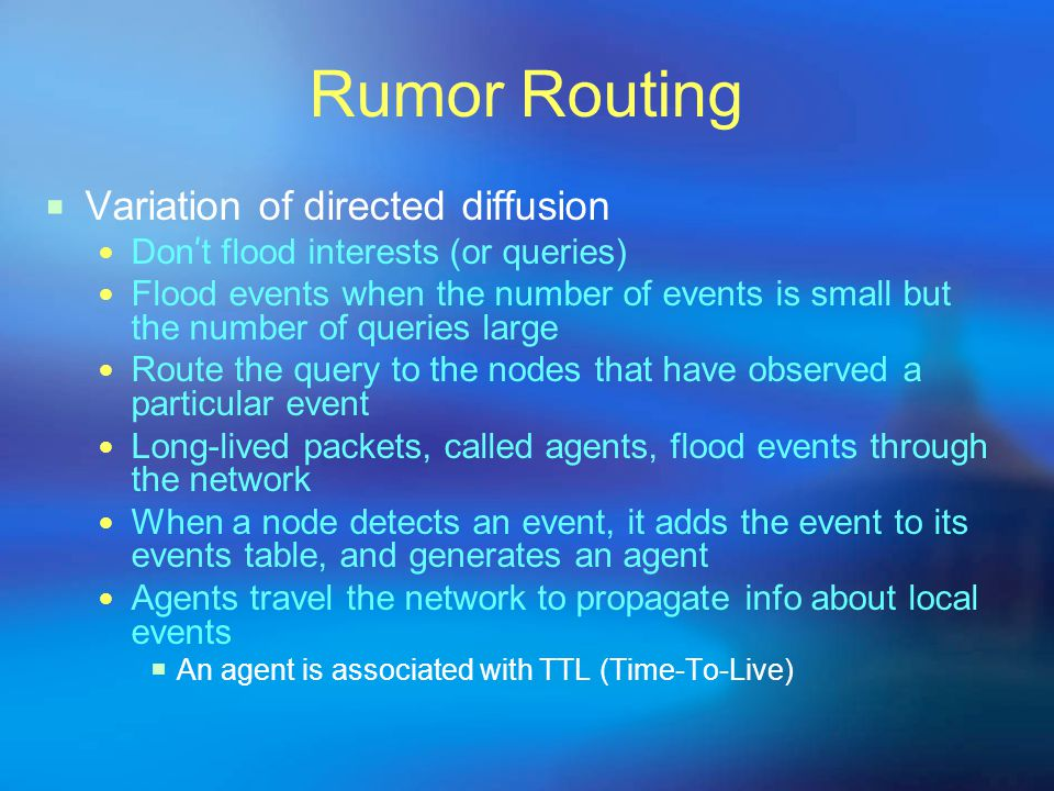 Rumor Routing Variation of directed diffusion