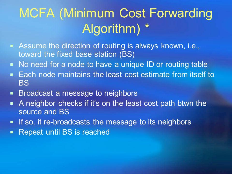 MCFA (Minimum Cost Forwarding Algorithm) *