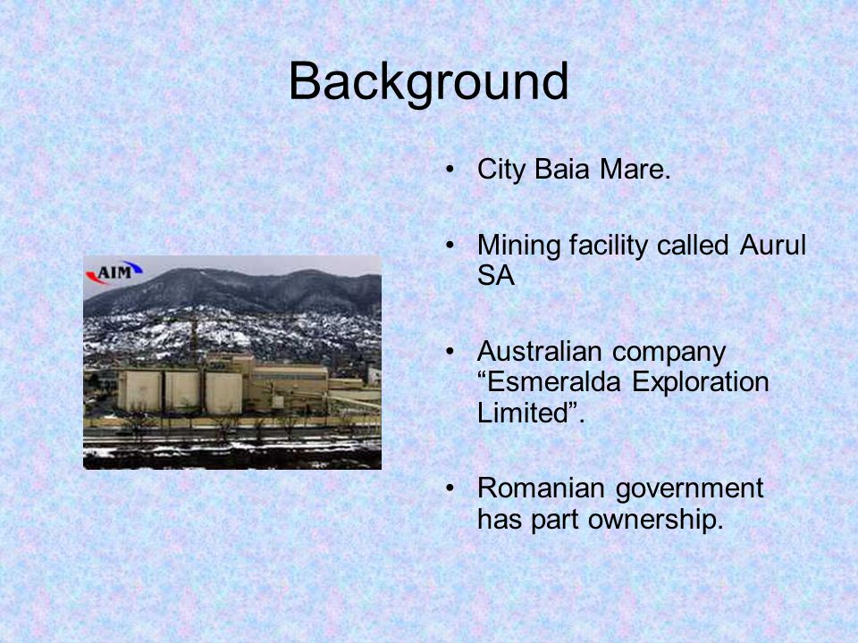 Background City Baia Mare. Mining facility called Aurul SA