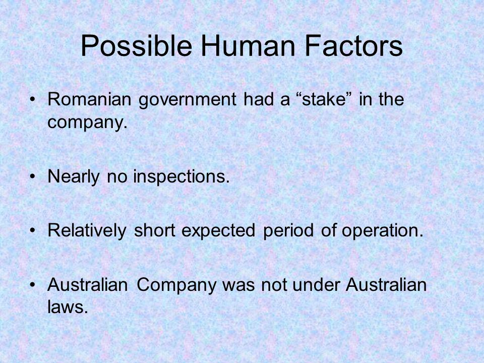 Possible Human Factors