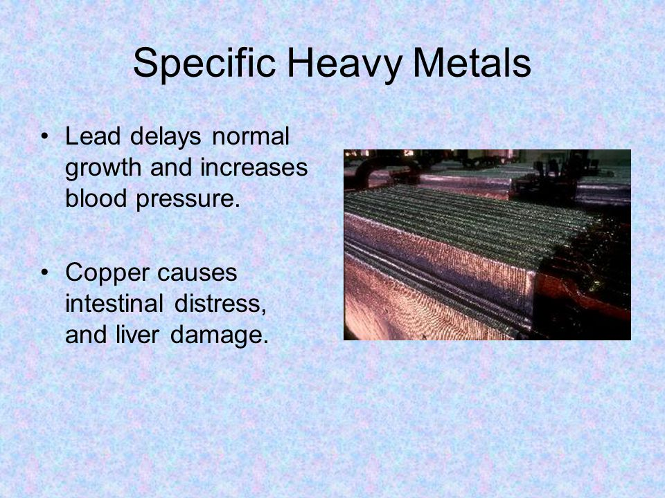 Specific Heavy Metals Lead delays normal growth and increases blood pressure. Copper causes intestinal distress, and liver damage.