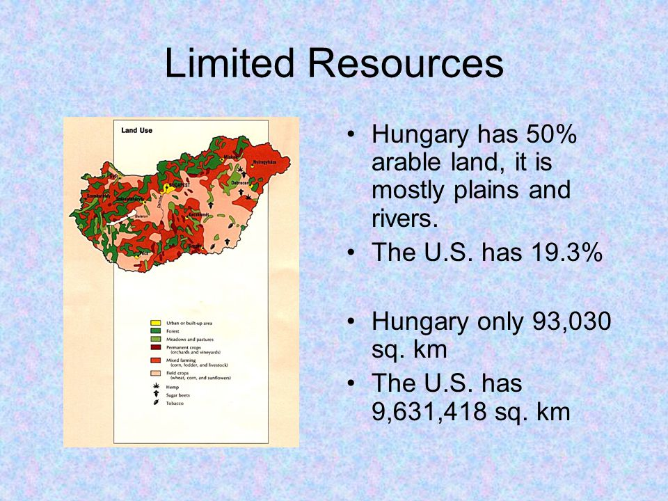 Limited Resources Hungary has 50% arable land, it is mostly plains and rivers. The U.S. has 19.3% Hungary only 93,030 sq. km.