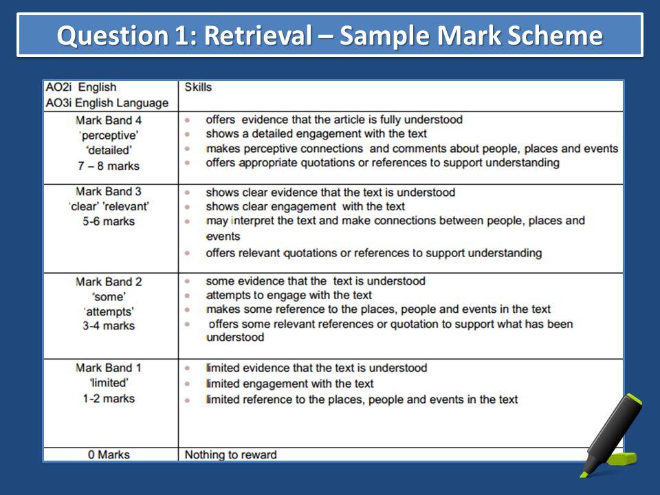 Question 1: Retrieval – Sample Mark Scheme