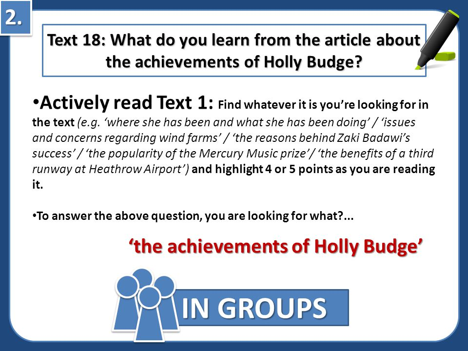 2. Text 18: What do you learn from the article about the achievements of Holly Budge