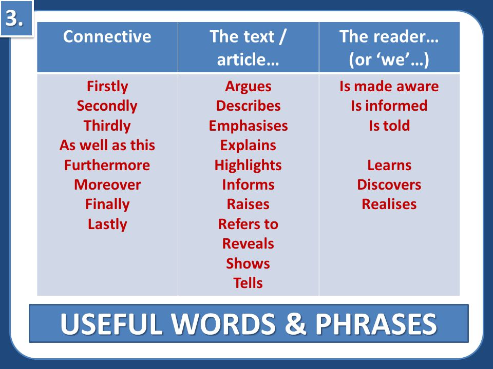 USEFUL WORDS & PHRASES 3. Connective The text / article… The reader…