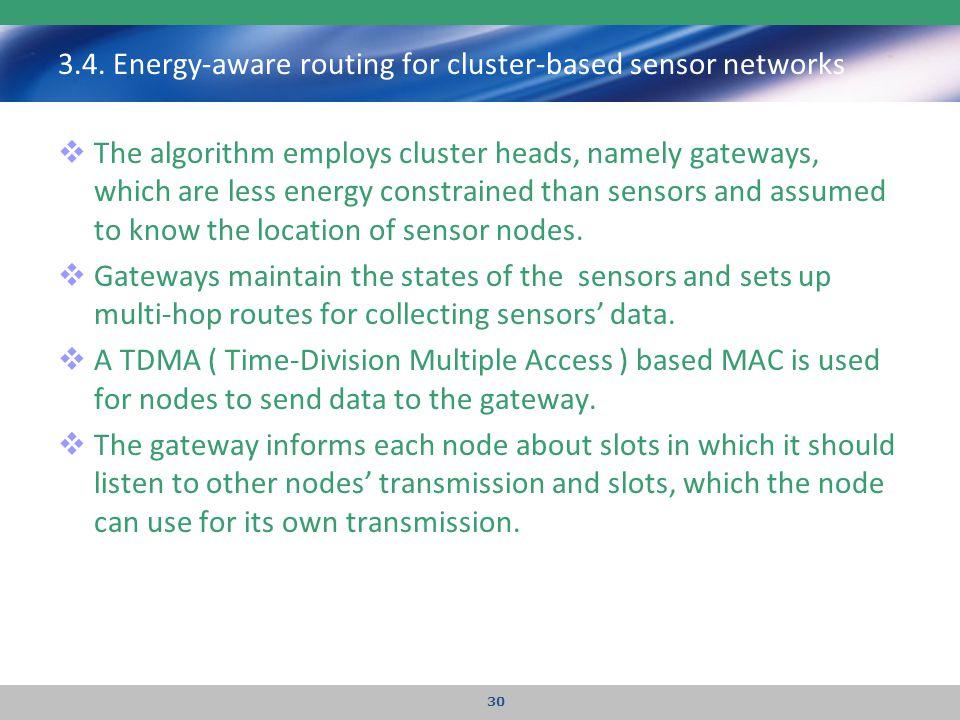 3.4. Energy-aware routing for cluster-based sensor networks