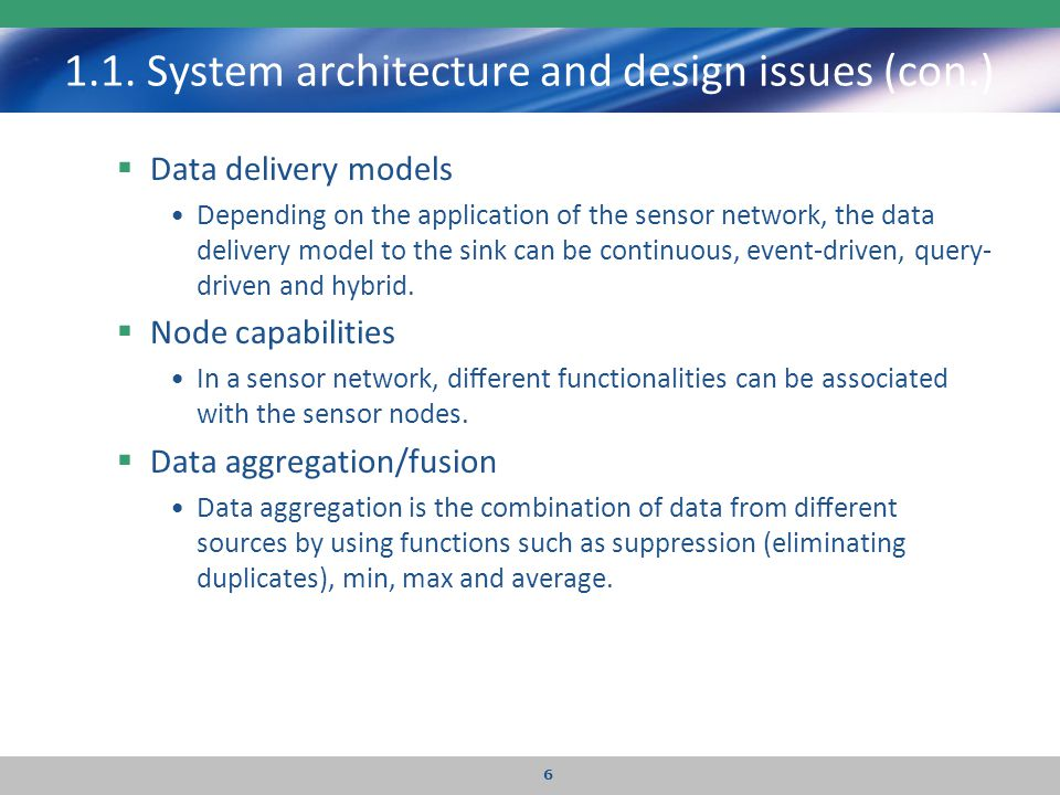 1.1. System architecture and design issues (con.)