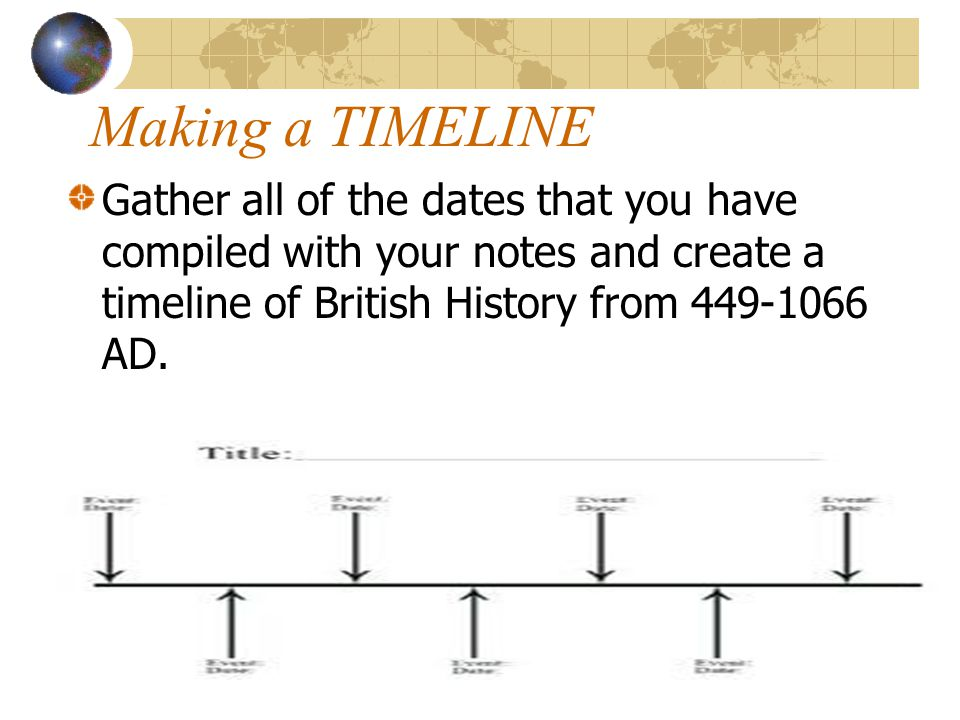 Making a TIMELINE Gather all of the dates that you have compiled with your notes and create a timeline of British History from 449-1066 AD.