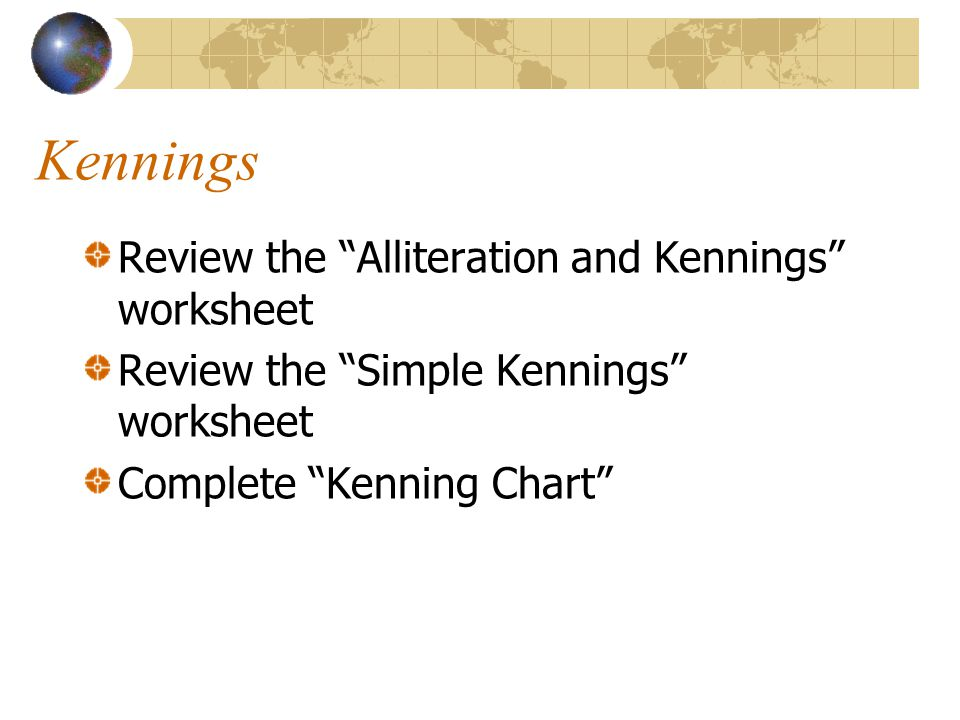 Kennings Review the Alliteration and Kennings worksheet