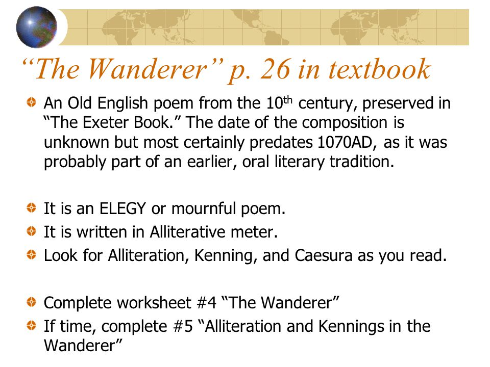 The Wanderer p. 26 in textbook