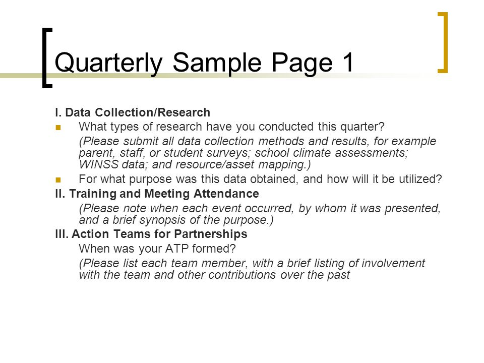 Quarterly Sample Page 1 I. Data Collection/Research