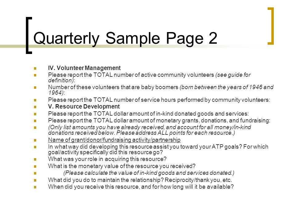 Quarterly Sample Page 2 IV. Volunteer Management