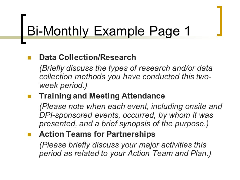 Bi-Monthly Example Page 1