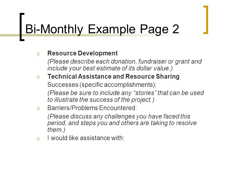 Bi-Monthly Example Page 2